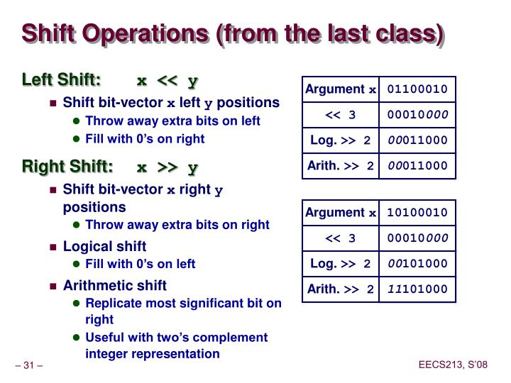 Shift Operations (from the last class)