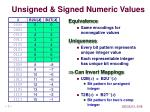 unsigned signed numeric values