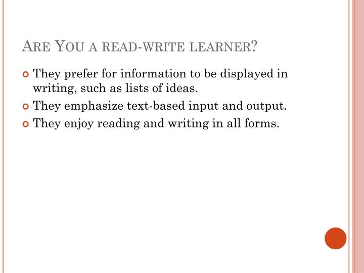 Are You a read-write learner?