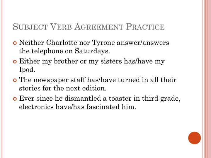 Subject Verb Agreement Practice