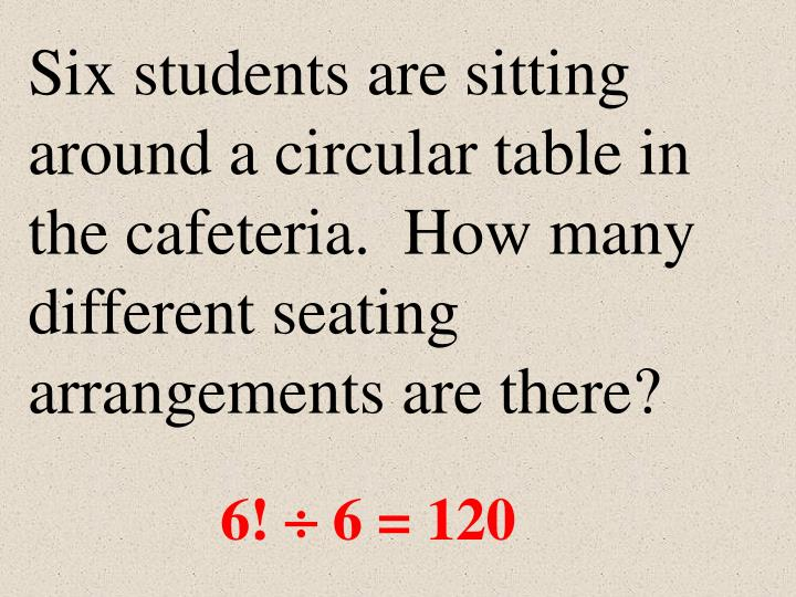 Six students are sitting around a circular table in the cafeteria.  How many different seating arrangements are there?
