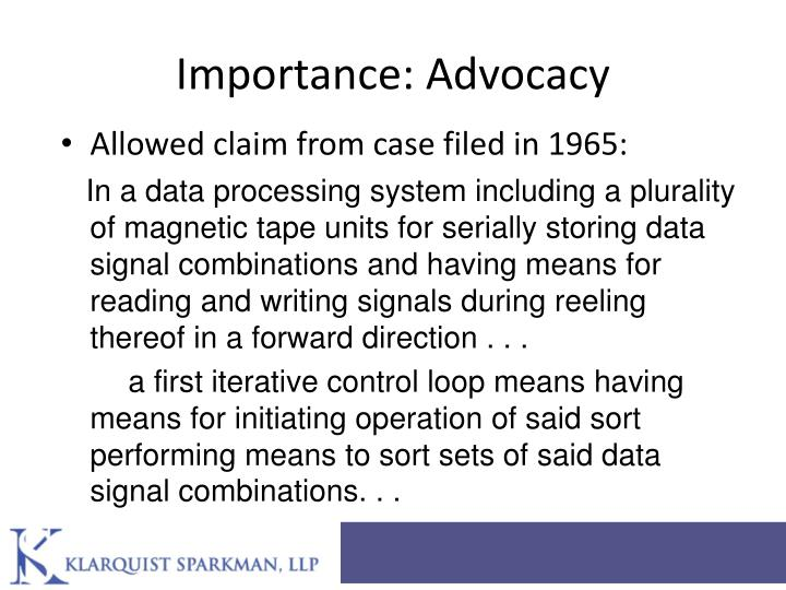 Importance: Advocacy