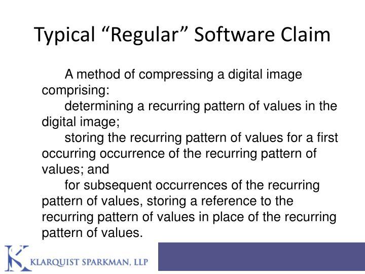"Typical ""Regular"" Software Claim"