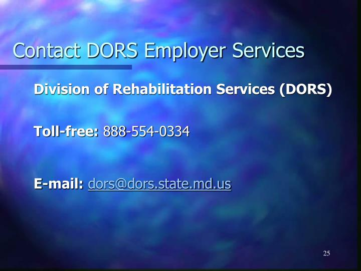 Contact DORS Employer Services