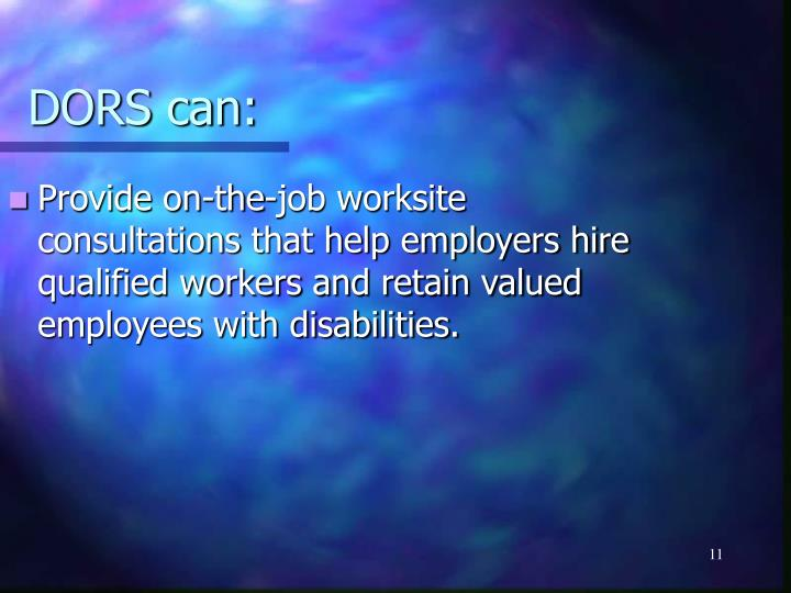 Provide on-the-job worksite consultations that help employers hire qualified workers and retain valued employees with disabilities.