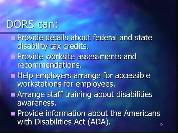 Provide details about federal and state disability tax credits.