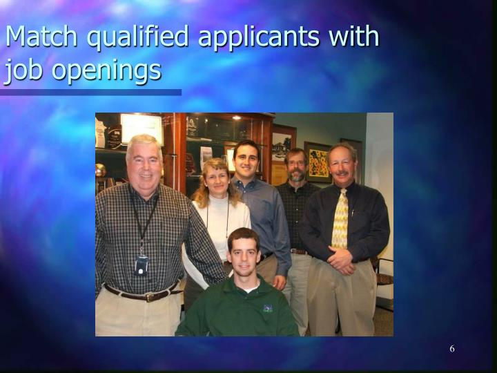 Match qualified applicants with job openings