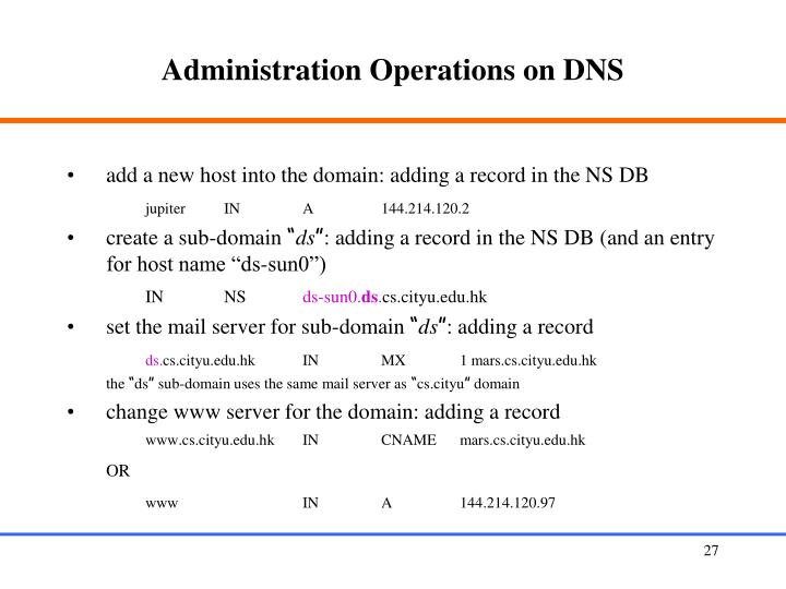 Administration Operations on DNS