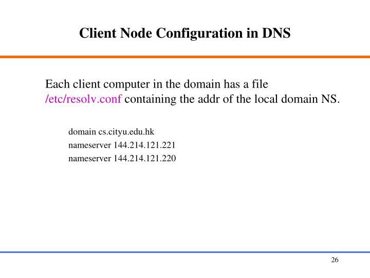 Client Node Configuration in DNS