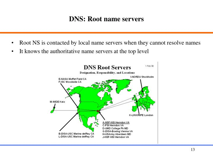 DNS: Root name servers