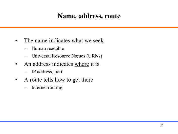 Name, address, route