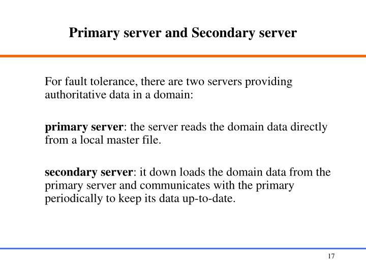 Primary server and Secondary server