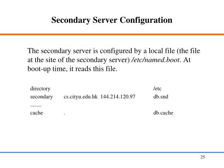 Secondary Server Configuration