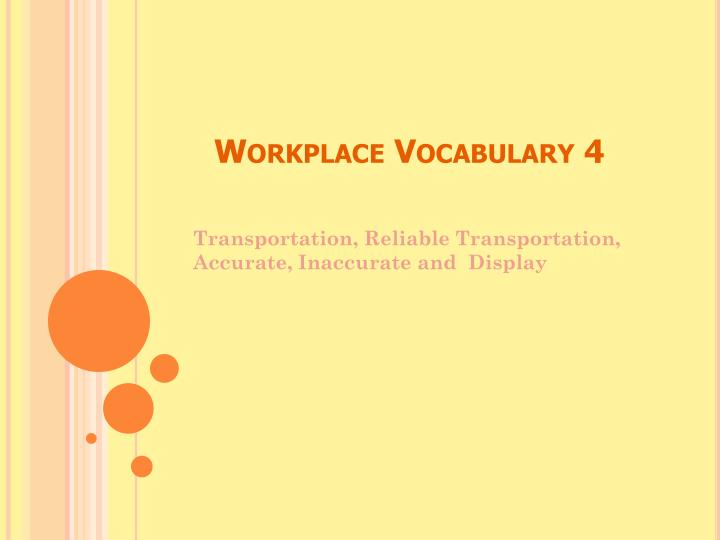 Workplace Vocabulary 4