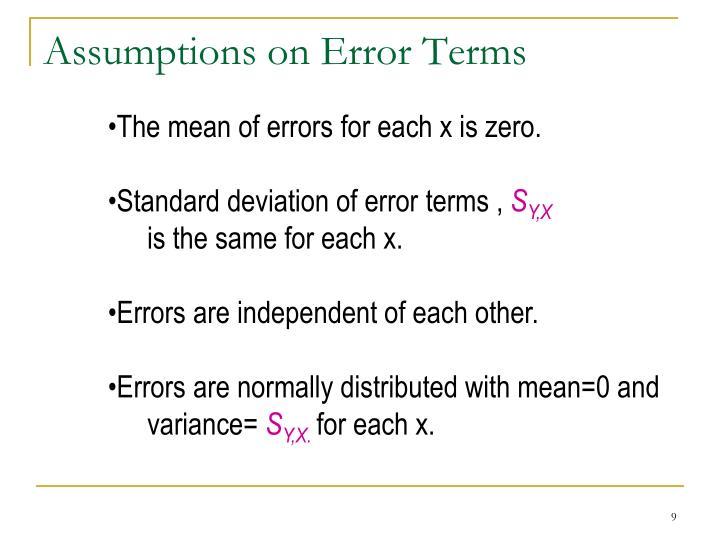 Assumptions on Error Terms