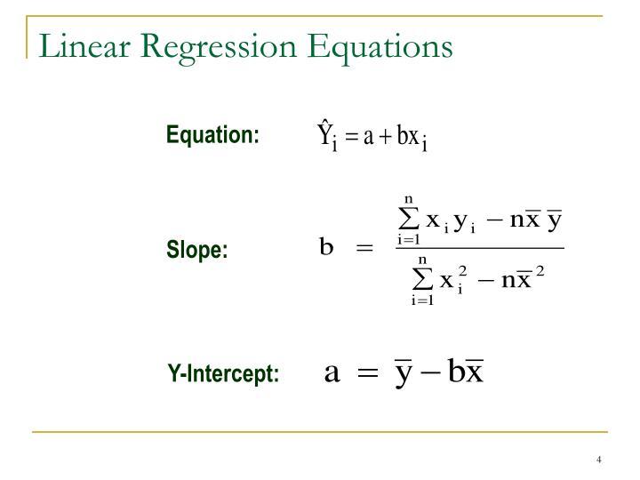 Linear Regression Equations