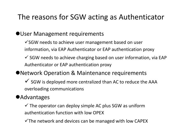 The reasons for SGW acting as Authenticator