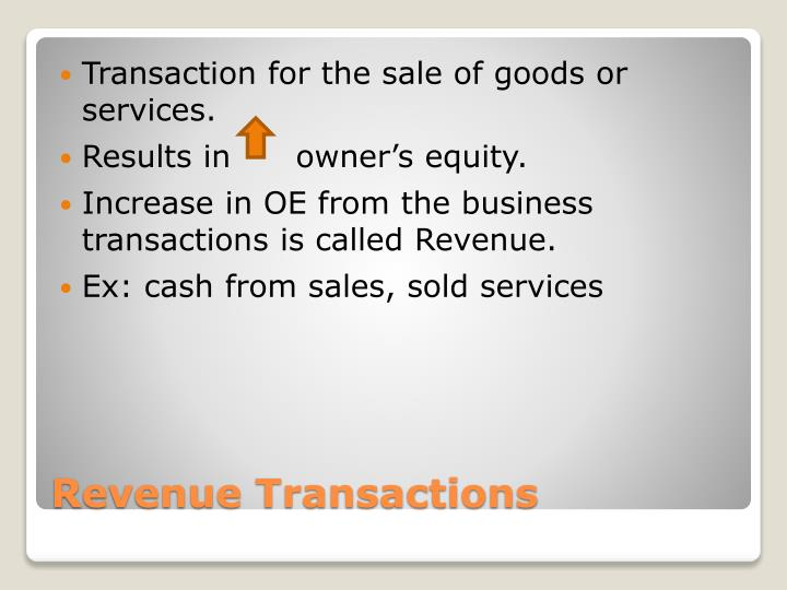 Transaction for the sale of goods or services.