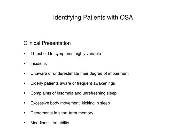 Identifying Patients with OSA
