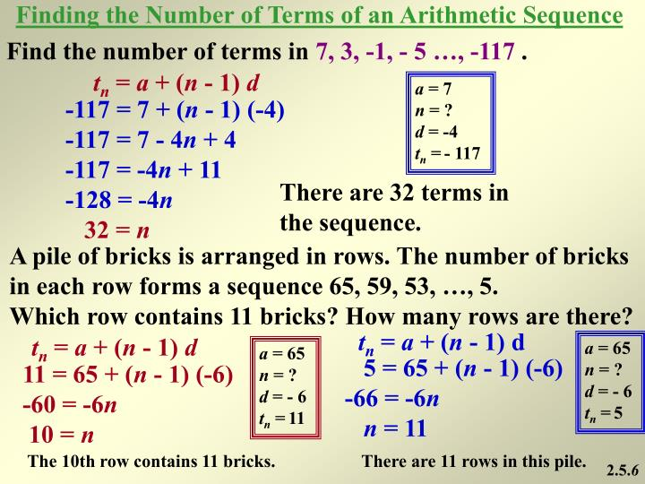 Finding the Number of Terms of an Arithmetic Sequence