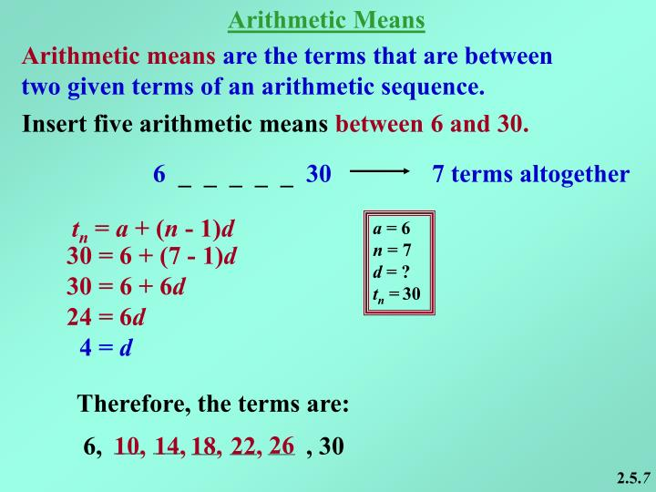 Arithmetic Means