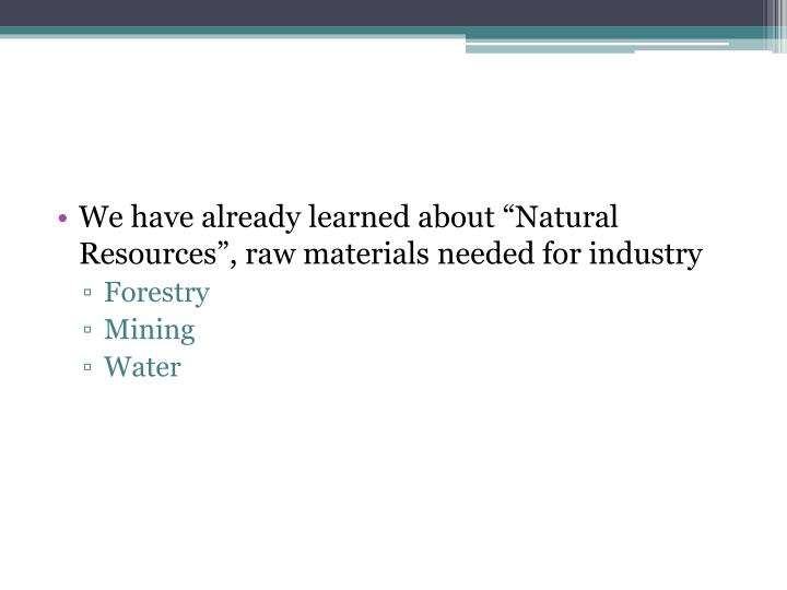 """We have already learned about """"Natural Resources"""", raw materials needed for industry"""