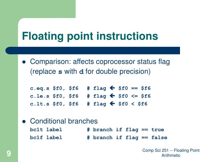 Floating point instructions