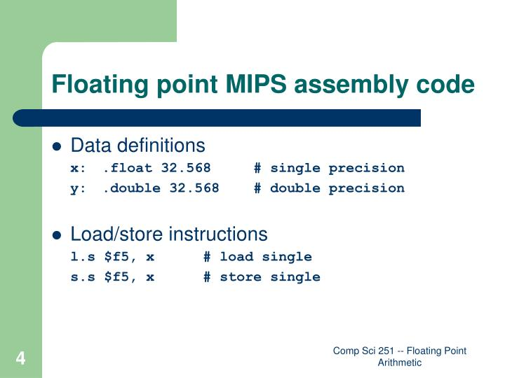 Floating point MIPS assembly code