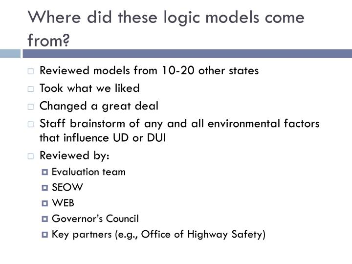 Where did these logic models come from?