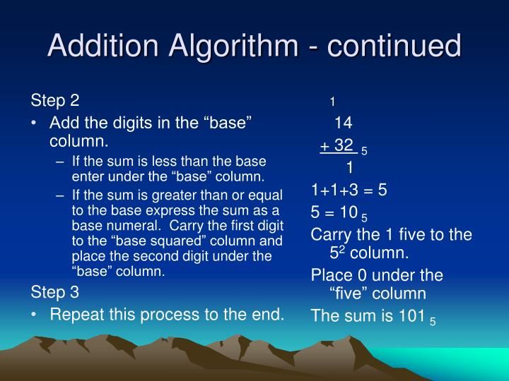 Addition algorithm continued