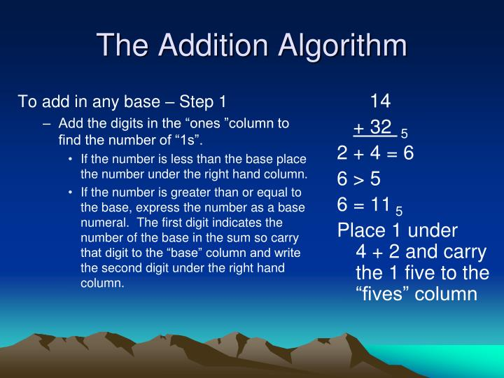 The addition algorithm