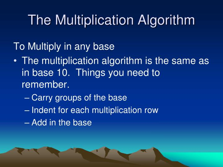 The Multiplication Algorithm