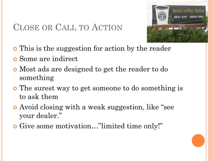 Close or Call to Action