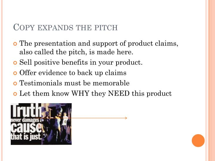 Copy expands the pitch