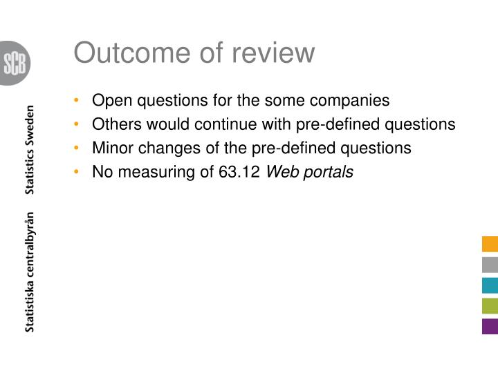 Outcome of review