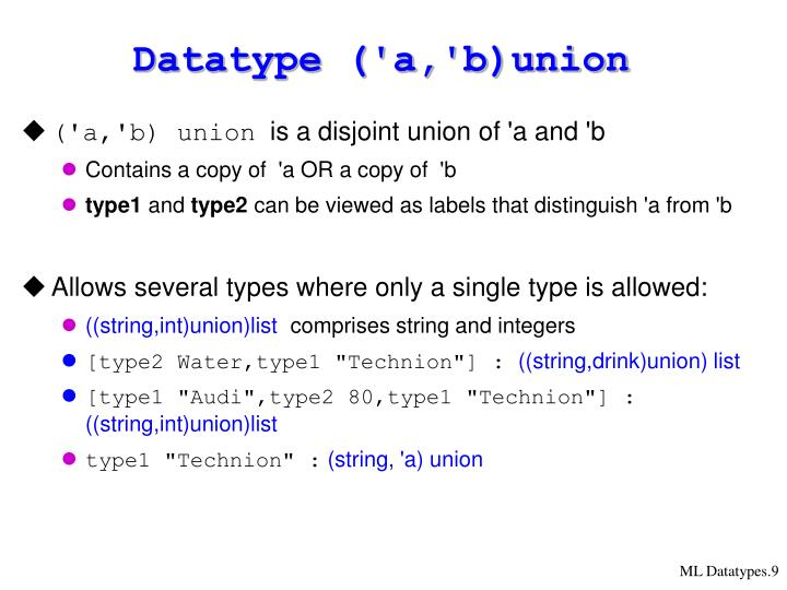 Datatype ('a,'b)union