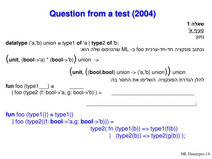 Question from a test (2004)