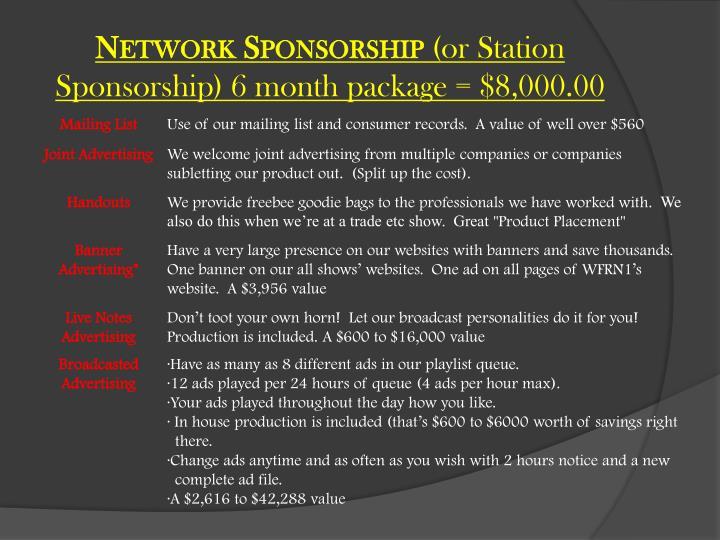 Network Sponsorship