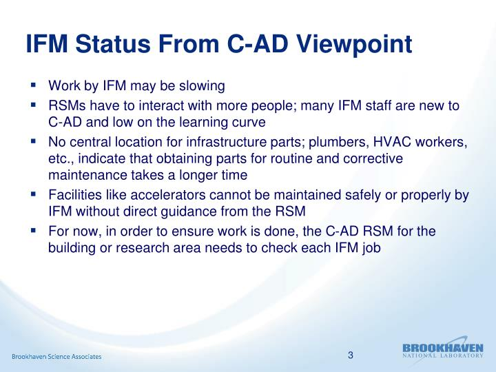 IFM Status From C-AD Viewpoint