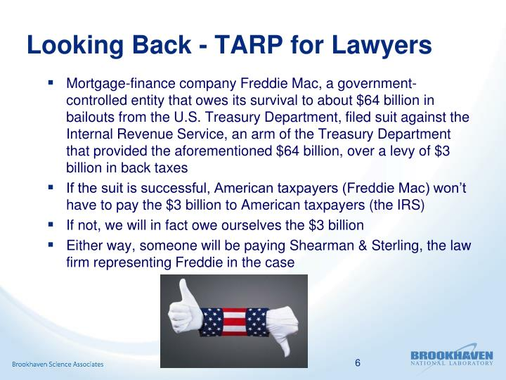 Looking Back - TARP for Lawyers