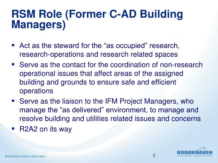 RSM Role (Former C-AD Building Managers)