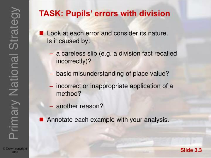 TASK: Pupils' errors with division