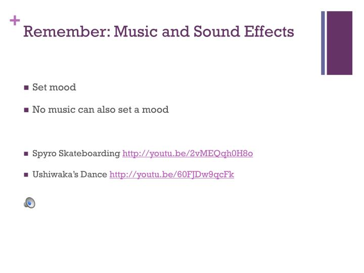 Remember: Music and Sound Effects
