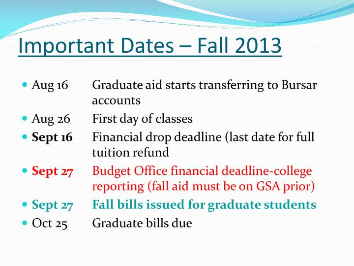 Important Dates – Fall 2013
