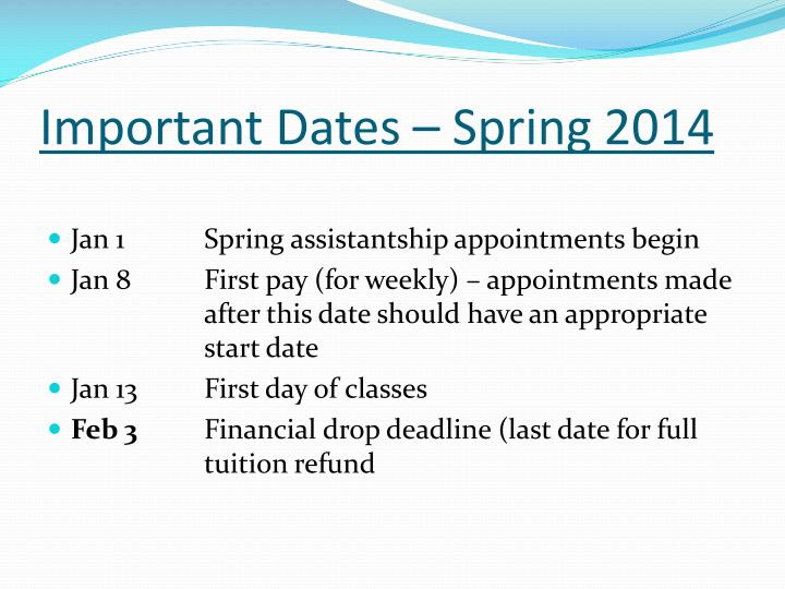 Important Dates – Spring 2014
