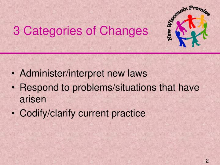 3 Categories of Changes
