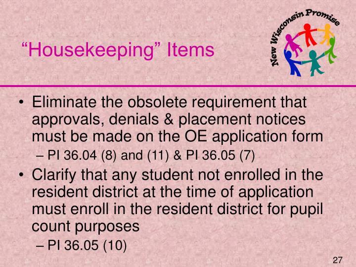 """""""Housekeeping"""" Items"""