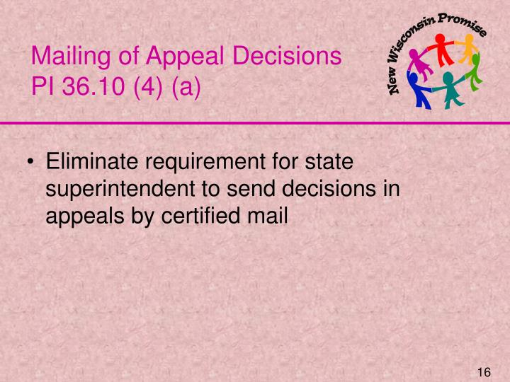 Mailing of Appeal Decisions