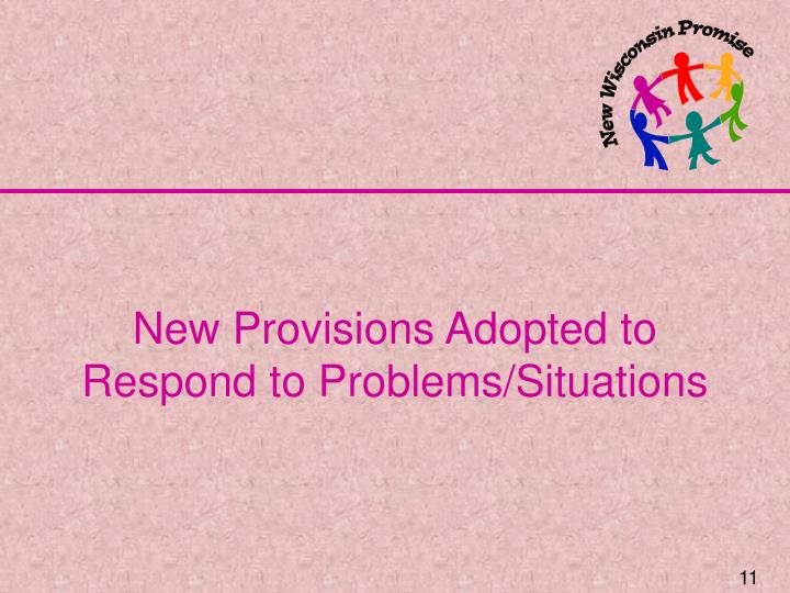 New Provisions Adopted to Respond to Problems/Situations