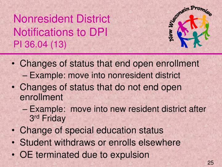 Nonresident District Notifications to DPI